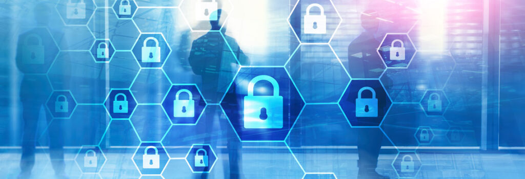 blue image of three people standing in front of locks 303 Networks